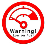 warning! low on fuel poster