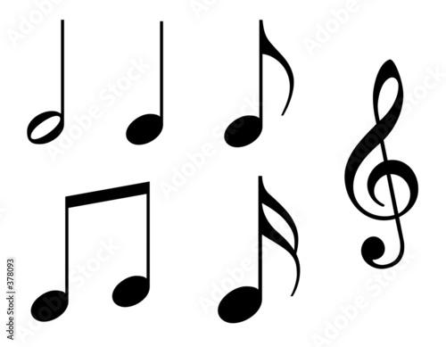 Leinwanddruck Bild music notes with working paths - 200 dpi
