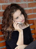 beautiful girl talking on the phone poster