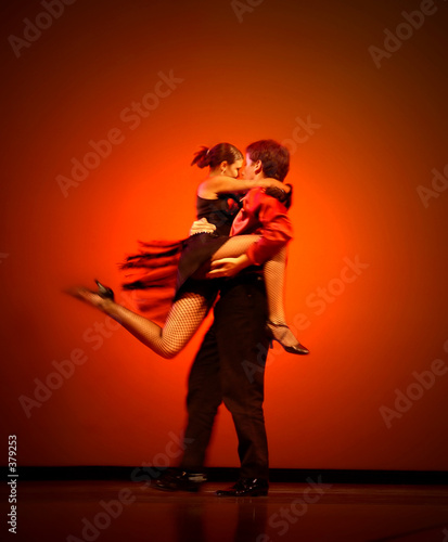 classical dancers on red background