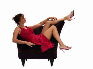 woman resting in a chair