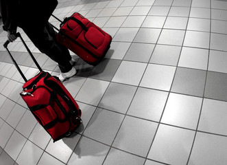man with red bags at the airport