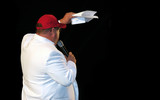 fat man in white suit poster