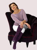 woman in a purple chair poster