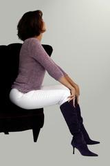 woman in a purple chair