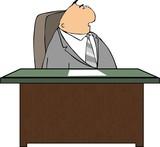 man at a desk poster