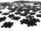 black puzzle pieces poster