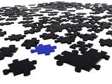 black puzzle piece amongst black ones poster