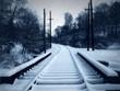 snowy trolley track