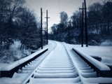 snowy trolley track poster