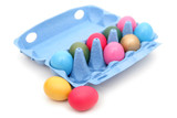 colorful easter eggs in carton poster