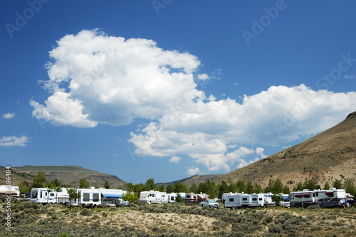 canvas print picture mountain campground 1