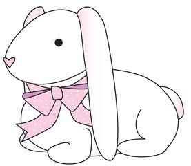floppy bunny- pink dots