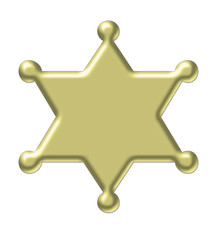 gold star - sheriff badge 3d