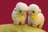 2 toy sheep in spring poster