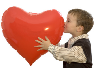 boy kissing heart