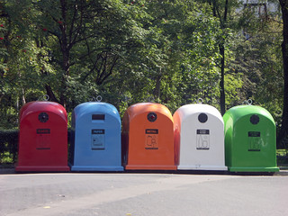 five recycle bins