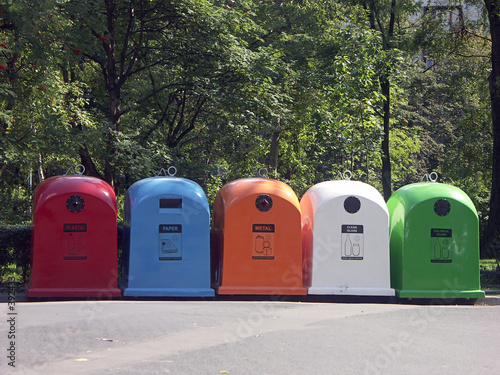 poster of five recycle bins
