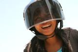 happy biker poster