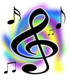 treble clef music notes illustration poster