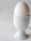hard boiled egg in white egg cup poster