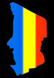carte du tchad sur fond noir