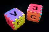 puzzle cubes with letters poster