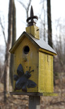 yellow bird feeder poster
