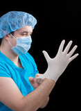 surgeon preparing for operation poster