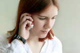 redhead girl talking on the phone poster