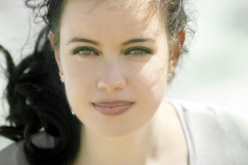 beautiful girl with green eyes