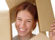 smiling girl in a box