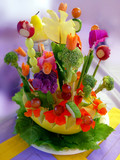 beautiful arrangement of food and flowers poster