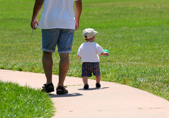 father and son in the park