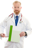 male doctor with information poster