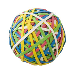 large rubberband ball over white
