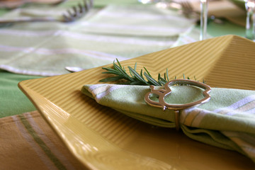 yellow plate with decorations