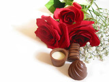 rose bouquet with chocolates poster