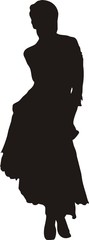 sexy woman in dress in a pose silhouette