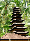 indonesia, bali: traditional thatched roof poster