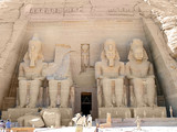 four giant statues of ramesses ii poster