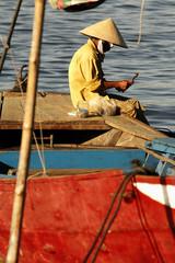 vietnamese woman fishing