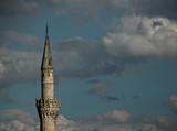 a minaret of a mosque in skopje, macedonia poster