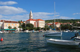 boats and a fishing village in croatia poster