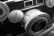 vintage rangefinder camera in black and white