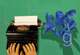 typewriter and 3d letters poster