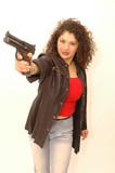 woman with handgun poster