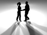 handshake in spotlight - horizontal poster