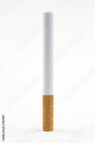 one cigarette on white background