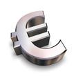 3d chrome euro symbol